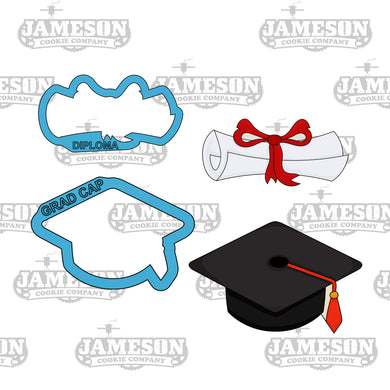 Graduation Diploma and Cap Cookie Cutter Set - Senior High School Commencement - 2020