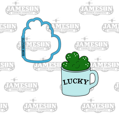 St. Patrick Day Clover In Mug Cookie Cutter - Clover Cup - Four Leaf - Lucky
