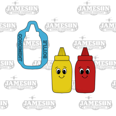 Condiment Bottle Cookie Cutter - Mustard, Ketchup, Mayo, Dressing - Food Theme