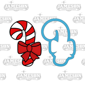 Christmas Candy Cane Cookie Cutter - Candycane with Bow