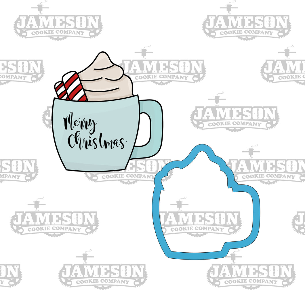 Christmas Mug Cookie Cutter - Hot Cocoa Candy Cane Latte Coffee Cup