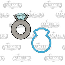 Load image into Gallery viewer, Engagement Ring Outline Cookie Cutter - Wedding Ring - Diamond Ring