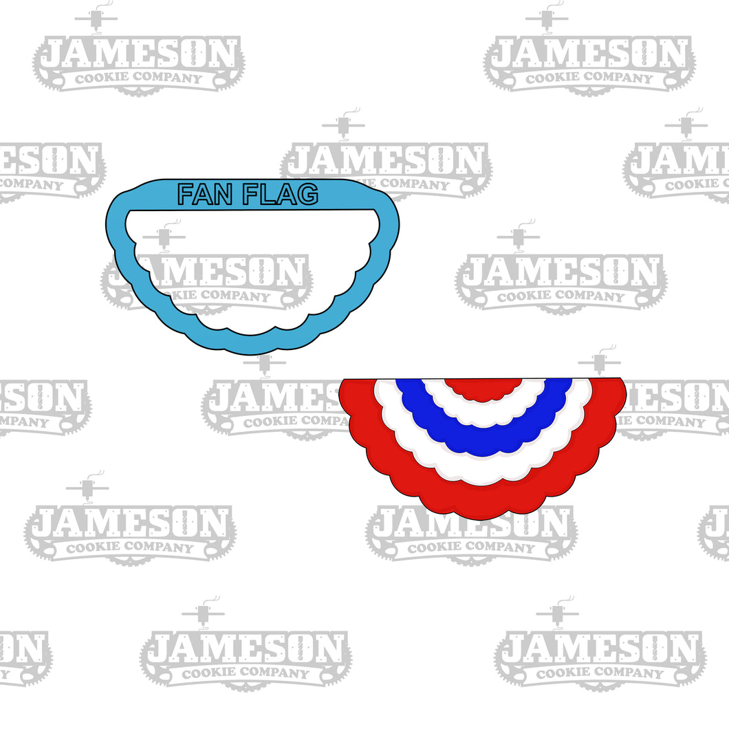 Fan Flag - 4th of July - Summer Theme - Ruffled Banner