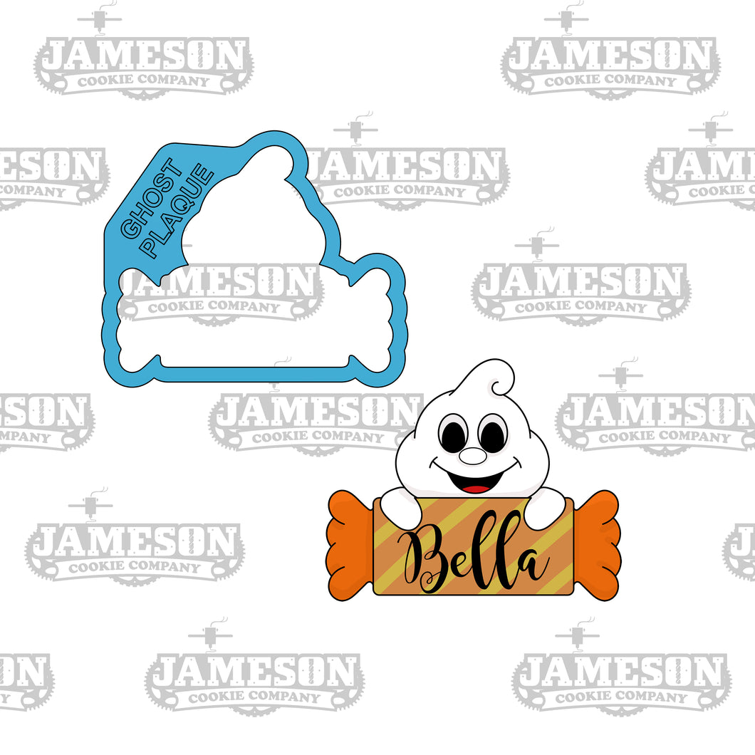 Ghost Holding Candy Plaque Cookie Cutter