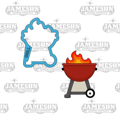BBQ Grill with Flame Cookie Cutter - Summer or Cookout Theme - Father Day Theme