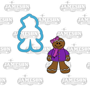 Christmas Gingerbread Girl with Bow Cookie Cutter - Winter Ginger Bread Woman - Ginger Snap
