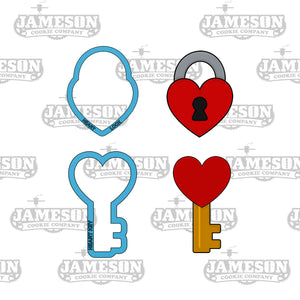 Heart Lock and Key Cookie Cutter Set