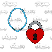Load image into Gallery viewer, Heart Lock and Key Cookie Cutter Set