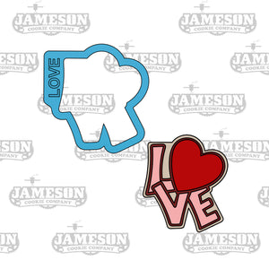 Love Plaque Cookie Cutter - Love Word with Heart