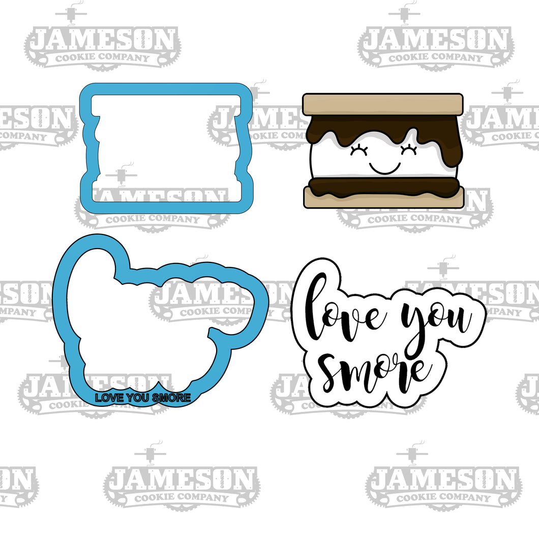Love You S'more Cookie Cutter Set - Valentine's Day - Love You Smore - Text Script Cookie Cutter
