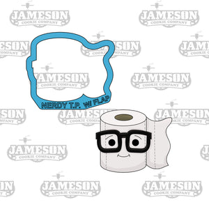 Nerdy Toilet Paper Cookie Cutter w Flap - TP - Toilet Paper with Glasses