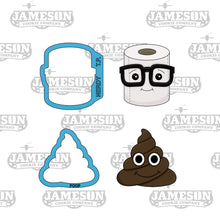 Load image into Gallery viewer, Poop Emoji and Nerdy Toilet Paper Cookie Cutter Set - TP