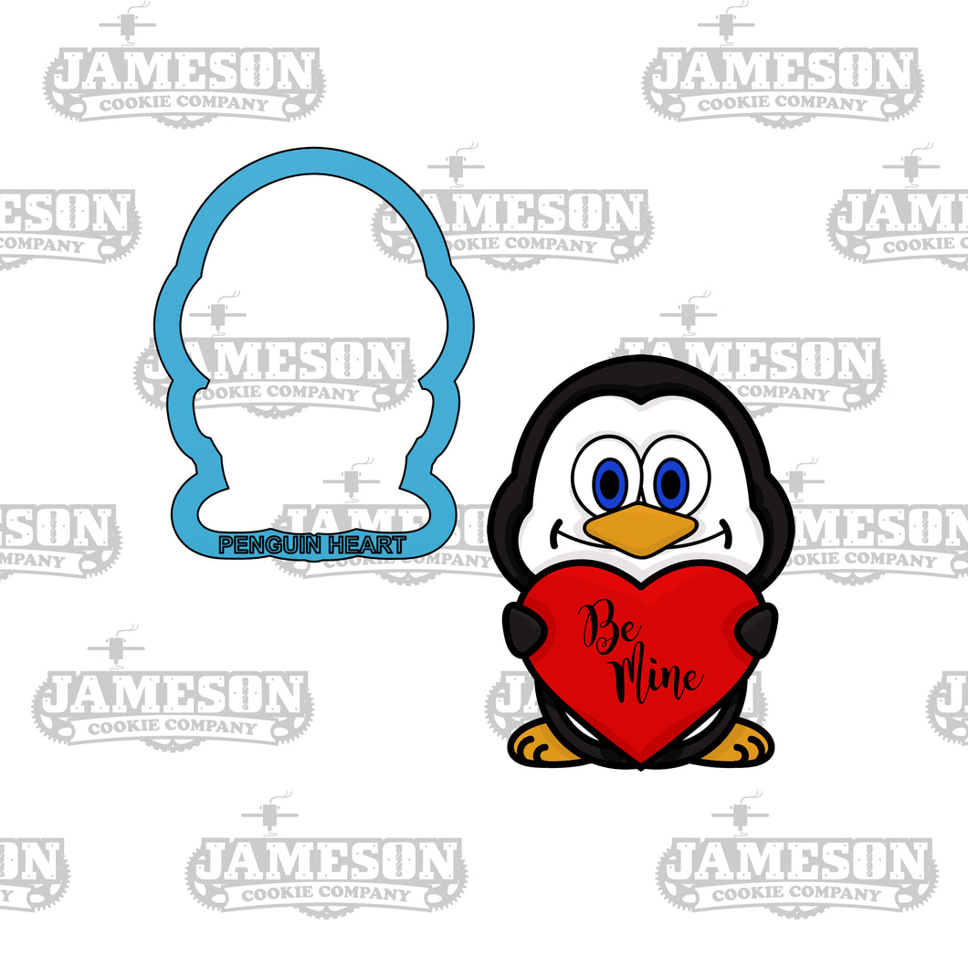 Penguin Holding Heart Cookie Cutter - Valentine's Day - Love - Be Mine - Hugs and Kisses