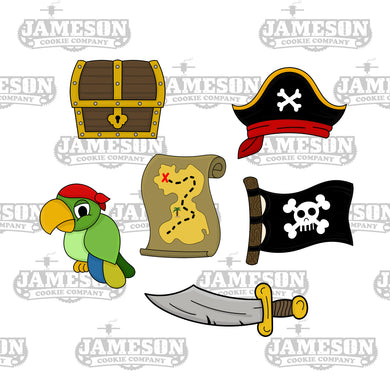 Pirate Theme Cookie Cutters - Birthday Party - Parrot Treasure Hat Map Flag Sword
