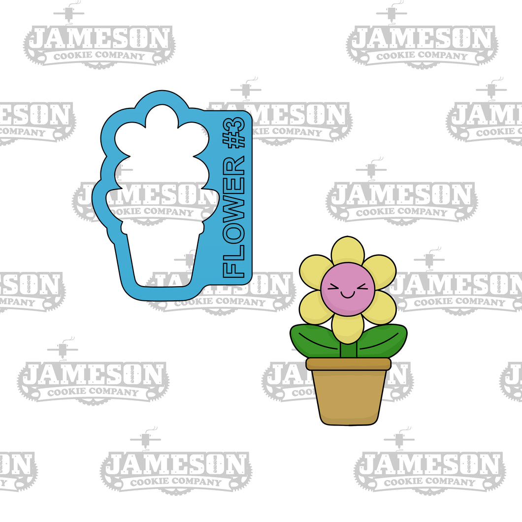 Flower 3 Cookie Cutter - Potted Spring Flower