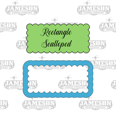 Rectangle Scalloped Cookie Cutter - Fancy Ruffled Bubble Rectangular Frame Cookie Cutter