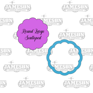 Round Large Scalloped Cookie Cutter - Fancy Ruffled Bubble Round Frame Cookie Cutter