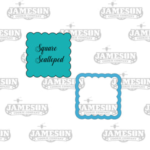 Square Scalloped Cookie Cutter - Fancy Ruffled Bubble Square Frame Cookie Cutter