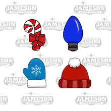 Load image into Gallery viewer, Christmas Mini Cookie Cutter Set 2 - Candy Cane - Light Bulb - Mitten - Winter Hat