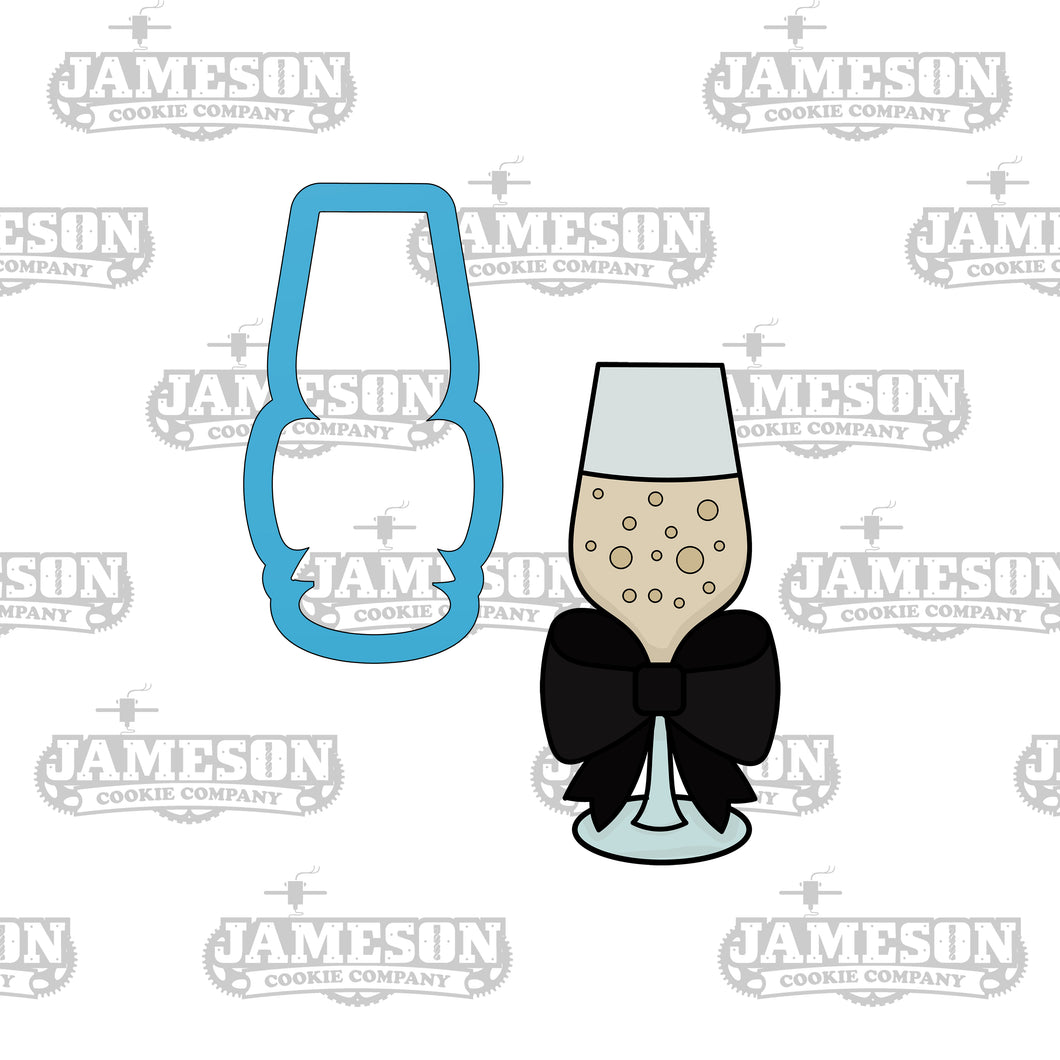 Champagne Glass Bow Cookie Cutter - Wedding, Graduation or New Years Toast Clink