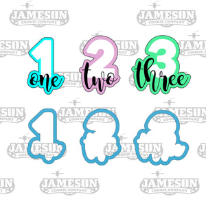 Number Cookie Cutter Set - Birthday Number Script - Plaque - Number One Two Three - 1 2 3
