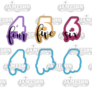 Number Cookie Cutter Set - Birthday Number Script - Plaque - Number Four Five Six - 4 5 6