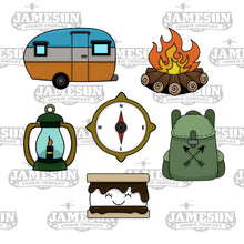 Load image into Gallery viewer, Camping Cookie Cutter Set Bundle - Camper Campfire Compass Backpack Lantern S'more
