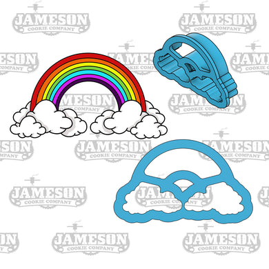 Rainbow Cookie Cutter - Rainbow With Clouds Cookie Cutter