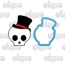 Load image into Gallery viewer, Cute Skull Boy Cookie Cutter - Top Hat Skull - Halloween