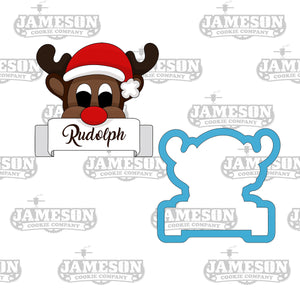 Reindeer Cookie Cutter with Plaque - Rudolph Cookie Cutter - Christmas Cookie Cutter