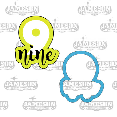 Number Nine Cookie Cutter - Birthday Number Plaque - Number 9