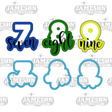 Load image into Gallery viewer, Number Cookie Cutter Set - Birthday Number Script - Plaque - Number Seven Eight Nine - 7 8 9