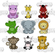 Load image into Gallery viewer, Safari Animal Cookie Cutter Set - Hippo, Giraffe, Warthog, Crocodile, Elephant, Lion, Monkey, Zebra, Tiger
