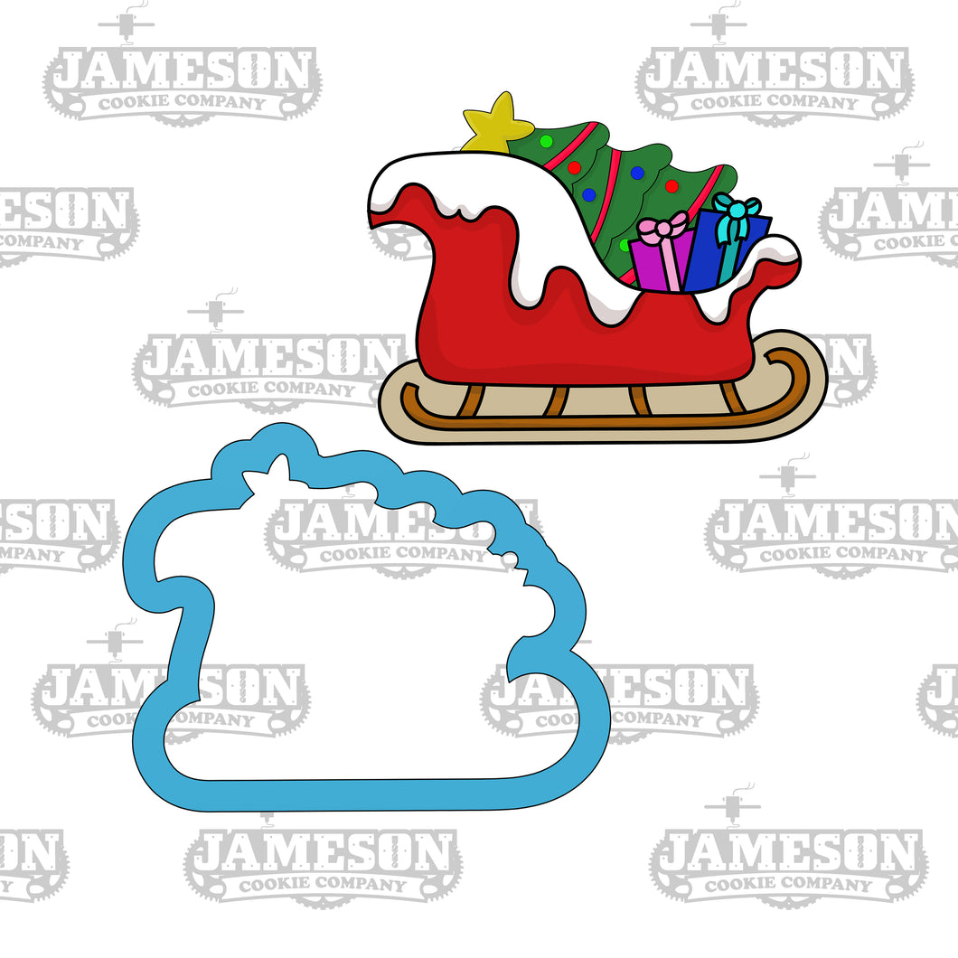 Santa's Sleigh with Tree Cookie Cutter - Santa Clause Sled - Old Saint Nick - Christmas Cookie Cutter