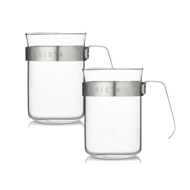 Barista & Co. Metal Frame Glass Coffee Cups - Steel (Set of 2)