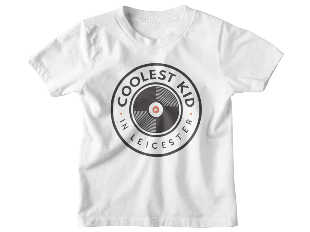 Coolest Kid in Leicester T-shirt (Grey • White)