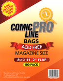 "Comic Pro Line Magazine 8 5/8"" Bag 2mil x100"