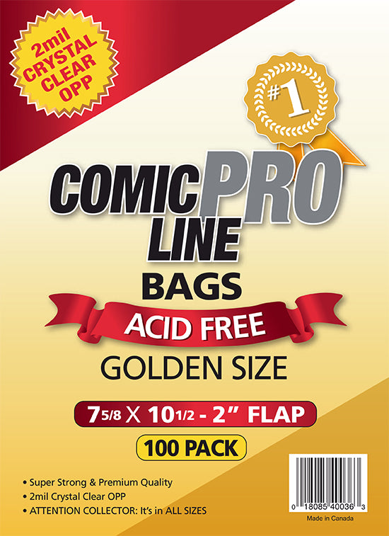 "Comic Pro Line Golden 7 5/8"" Bag 2mil x100"
