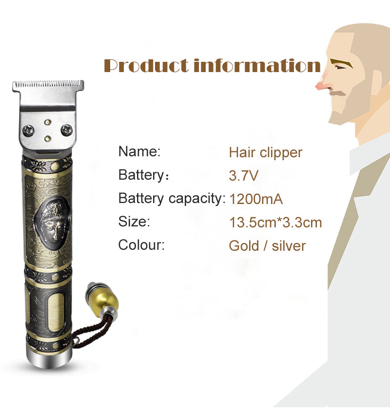 Rechargeable Cordless Trimmer Men 0mm Baldheaded Hair Clipper