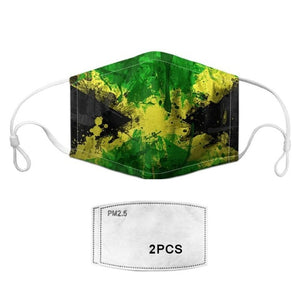 National Flag Pattern Reusable Mouth Face Shield Mask Cover Respirator Anti Dust Cycling Face Mask + 2pcs Masks Filters