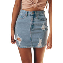Load image into Gallery viewer, Women's High Waist ripped denim Skirt. - connoisseurfashion.com
