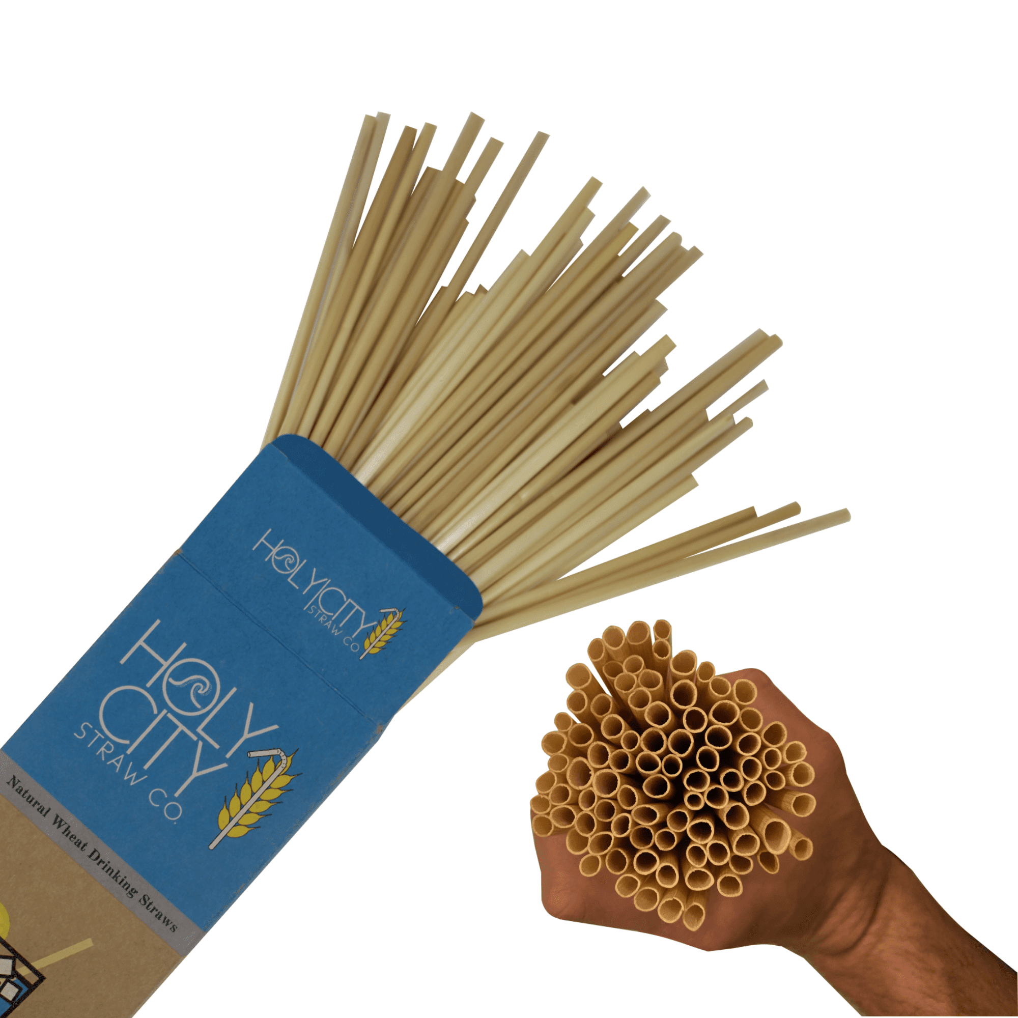 100 count box of Holy City Cocktail Straws with a fist full of straws