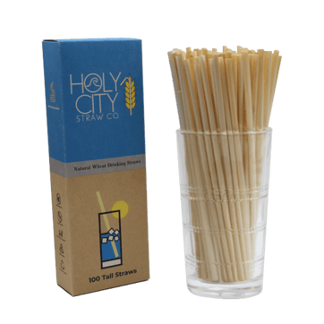 100 count box of Holy City Tall wheat straws next to a cup of straws