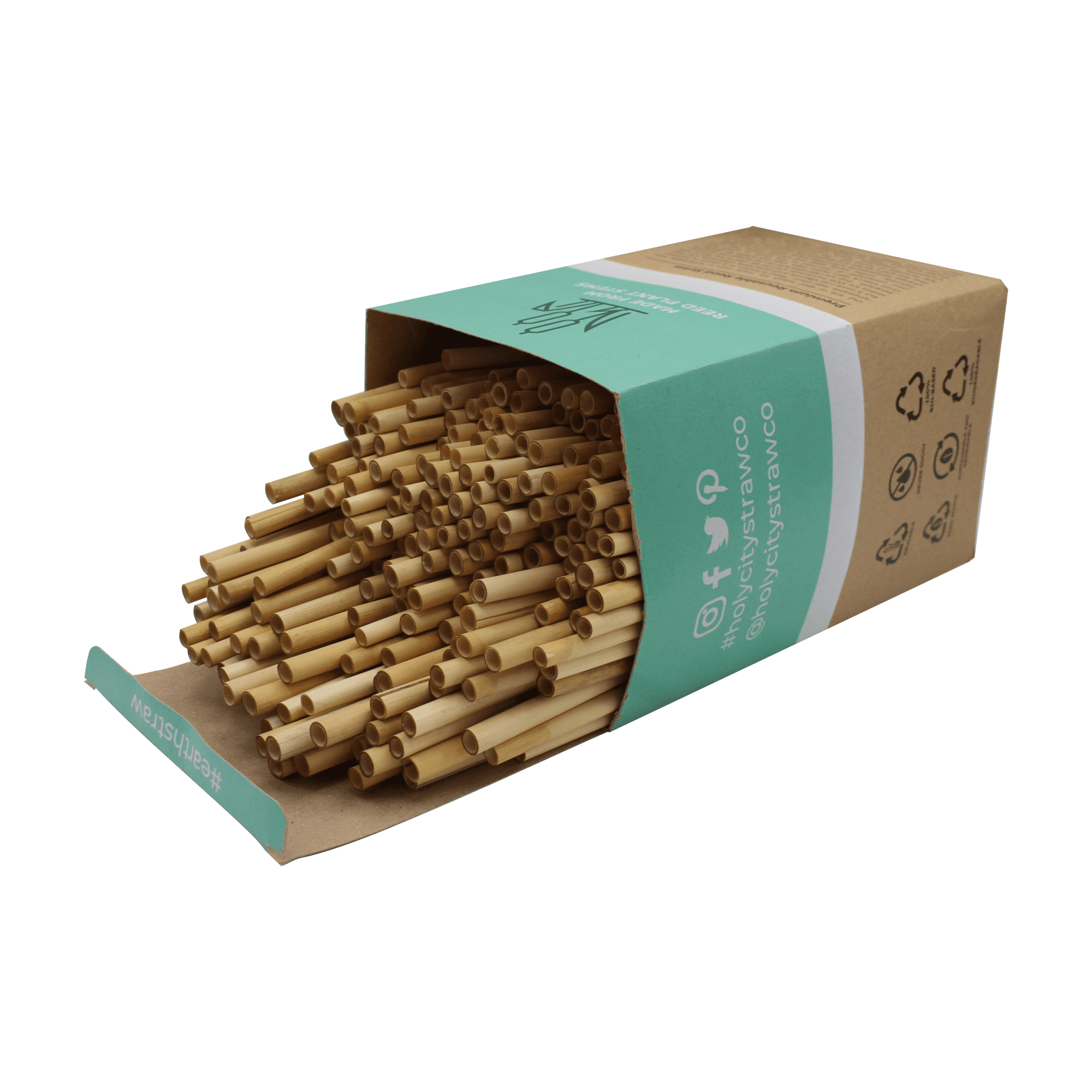 250 count box of Holy City Straw Company Reed Straws open with straws.