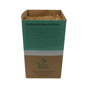 250 count box of Holy City Straw Company Reed Straws with Straws with no top highlighting the One Straw One Step One Plane mantra
