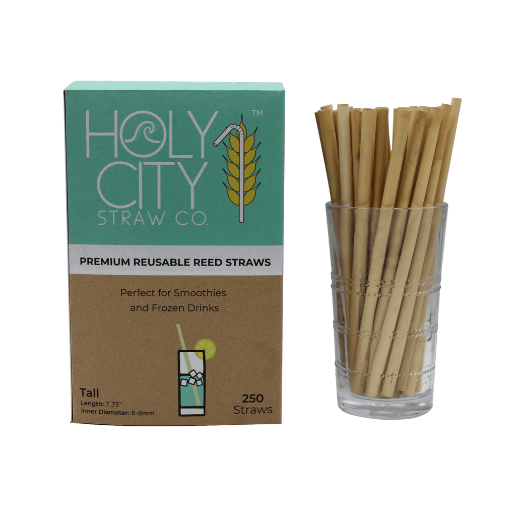 250 count box of Holy City Straw Company Tall Reed Straws next to a cup of straws