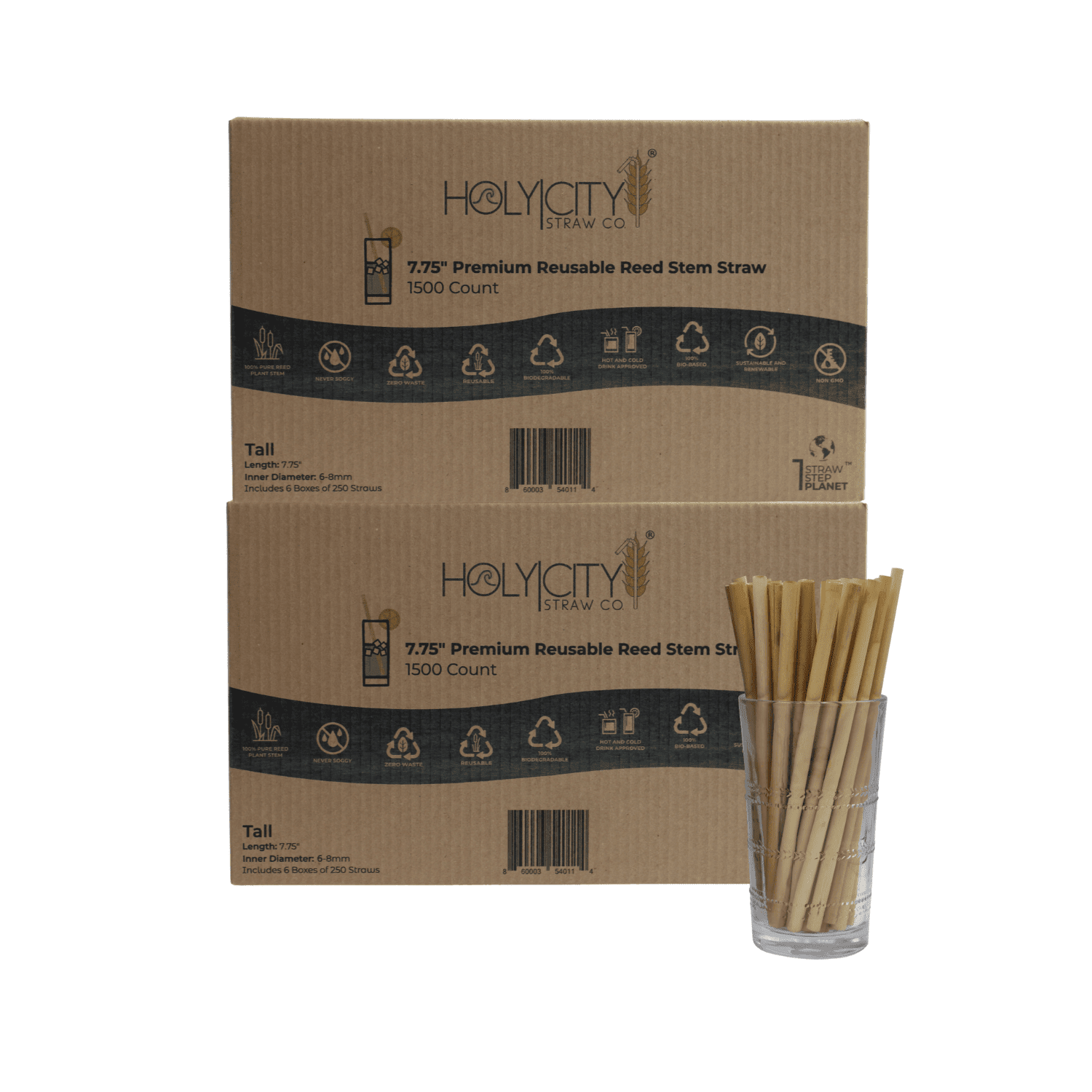 3000 count case containing 12 boxes of 250 ct boxes of Holy City tall reusable reed Straws