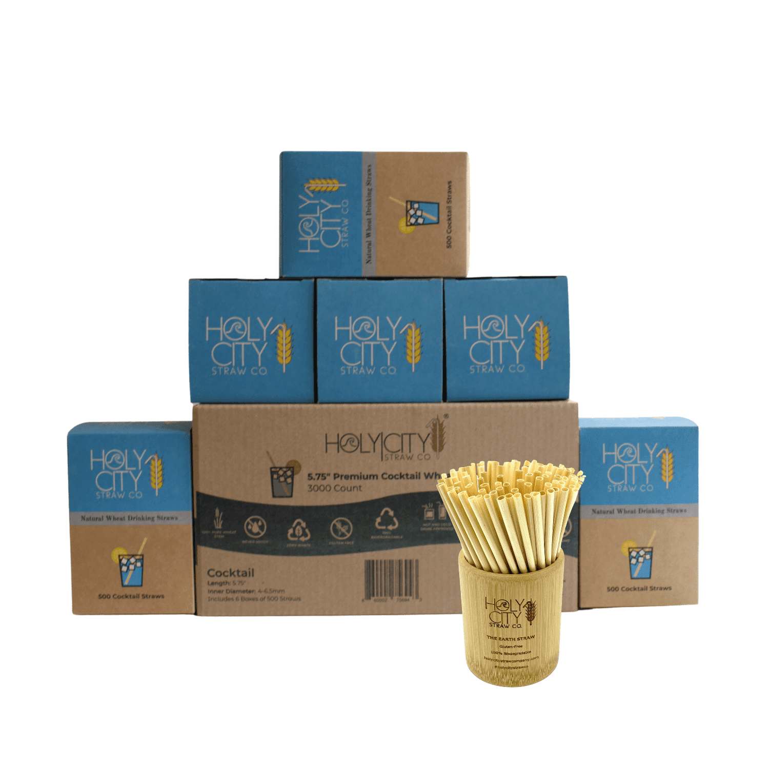 3000 count case containing 6 boxes of 500 ct boxes of Holy City Cocktail wheat Straws