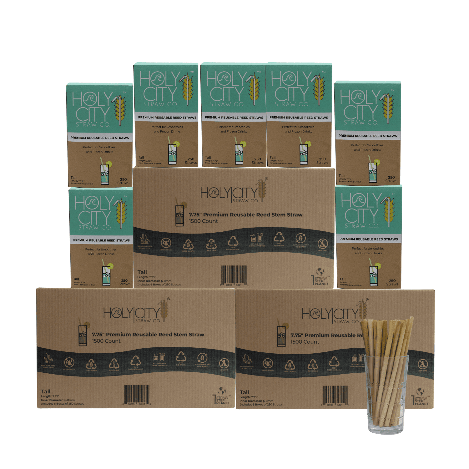 4500 count case containing 18 boxes of 250 ct boxes of Holy City tall reusable reed Straws