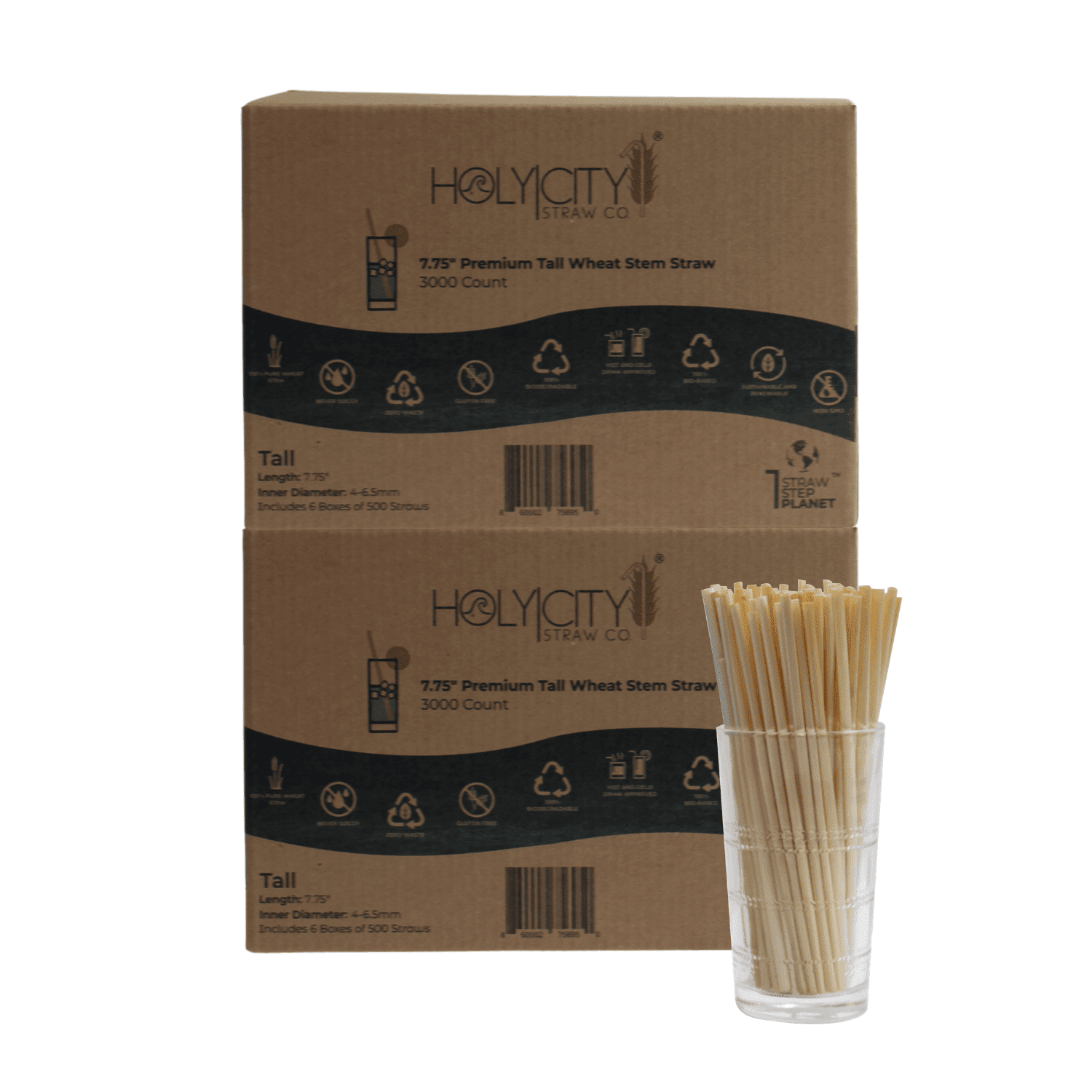 6000 count double case containing 12 boxes of 500 count boxes of Holy City Tall Wheat Straws